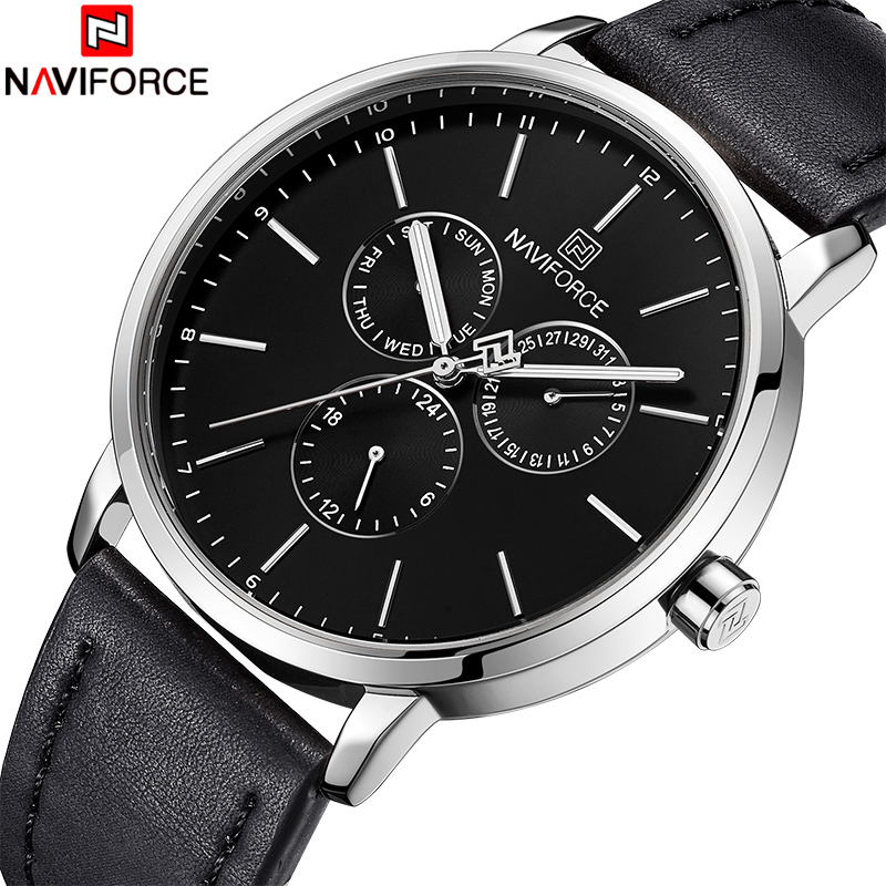 New NAVIFORCE Men Watch Top Brand Luxury Men's Leather Business Quartz Wrist Watches Male Sports Date Clock Relogio Masculino new naviforce men watch top brand luxury men s rose gold quartz wrist watches male 24 hour luminous date clock relogio masculino