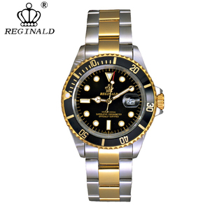 Image 2 - REGINALD นาฬิกาผู้ชาย Rotatable BEZEL GMT Sapphire Glass 50 M น้ำเต็มรูปแบบกีฬาแฟชั่นสีน้ำเงิน dial ควอตซ์นาฬิกา Reloj hombre