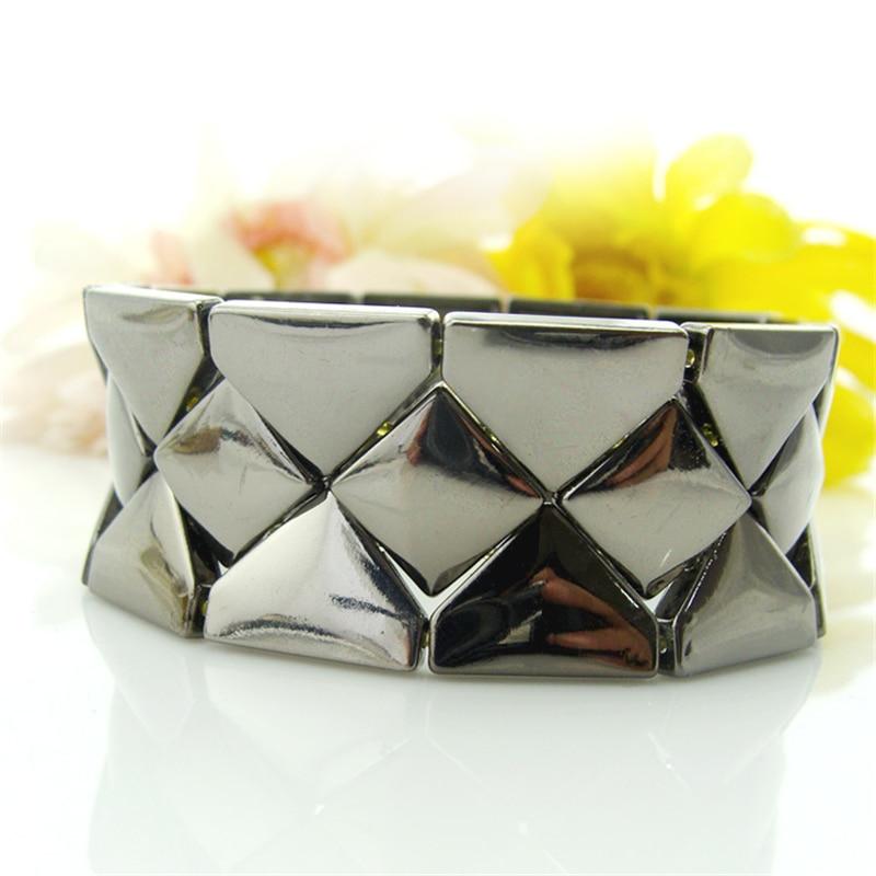 Специальный магазин модные лаконичные широкий черный сплав металла эластичный браслет ювелирные изделия