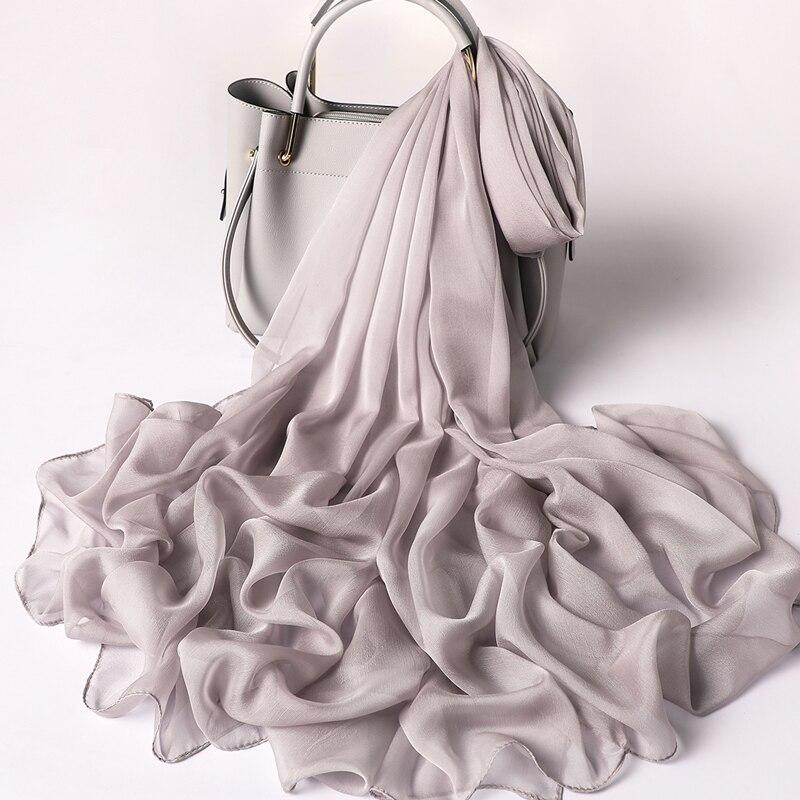 2019 designer brand women   scarf   fashion solid summer silk   scarves   lady shawl   wrap   large size beach stoles pashmina foulard hijab