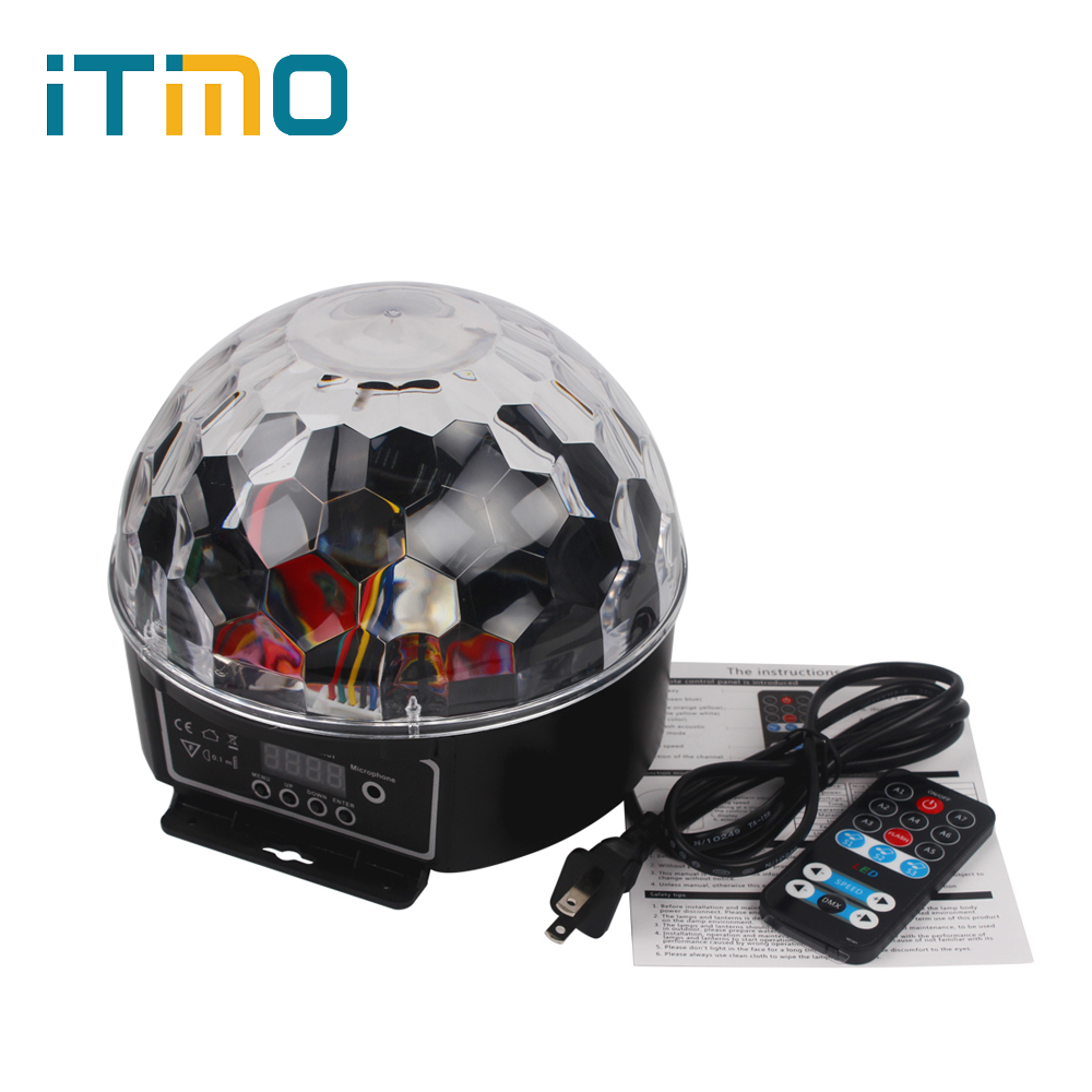 iTimo RGB DJ Disco Ball US/EU Plug 9 Colors 27W Remote Control LED Crystal Magic Ball Light Party Bar Show Stage Effect Lighting dmx512 127 led rgb effect light stage light for disco dj party show black eu plug ac 90 240v
