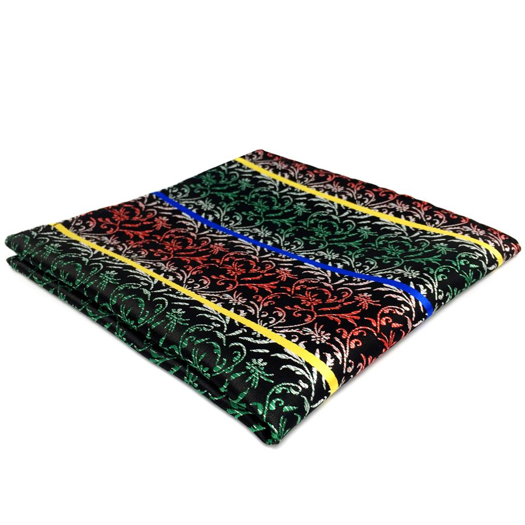 FH28 Geometric Multicolor Pocket Square For Men Silk Handkerchief Large 12.6