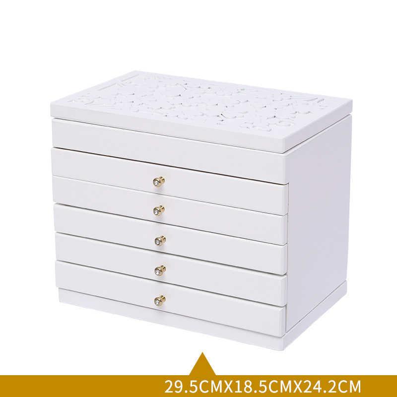 Nueva caja de joyería de madera de flor caja de regalo para el empaquetado de la joyería gran exquisita caja de maquillaje de lujo organizador de joyería de 6 capas
