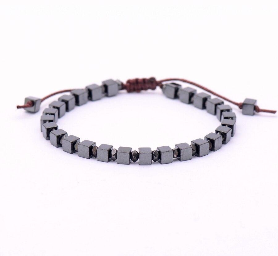 Square Charm Bracelet: Men Bracelet Square Natural Stone Beads Bracelet Handmade