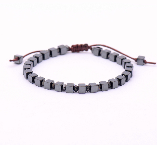 Men Bracelet Square Natural Stone Beads Handmade Friendship Bracelets Mens Charm Punk Jewelry
