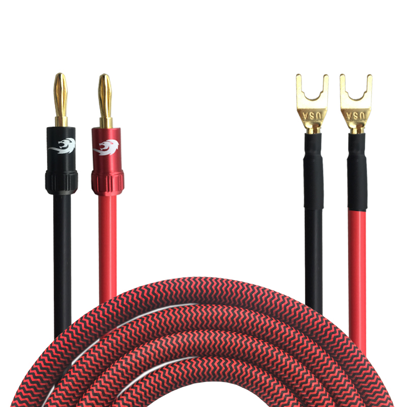 Hifi Speaker Cable with Banana to Spade Plug Jakc 5.1 Surround Sound System Amplifier Audio Cable Wire Audiophile OFC 8M adjustable bass treble two divider hifi module game pwm modulation digital amplifier for speaker audio crossover repair parts
