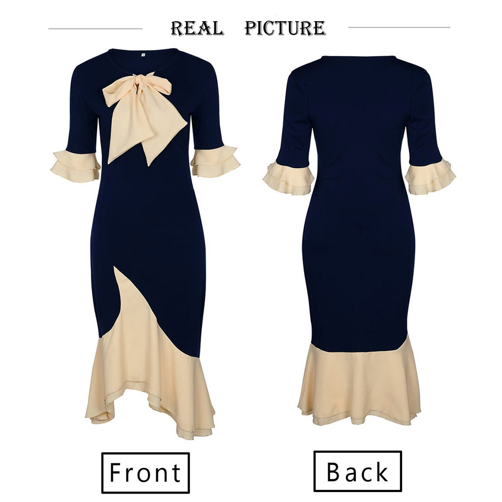 Sisjuly Vintage Elegant Office Lady Women Dresses Bodycon Flare Sleeve Bow Collar Falbala Girls Sexy Female Retro Party Dress in Dresses from Women 39 s Clothing