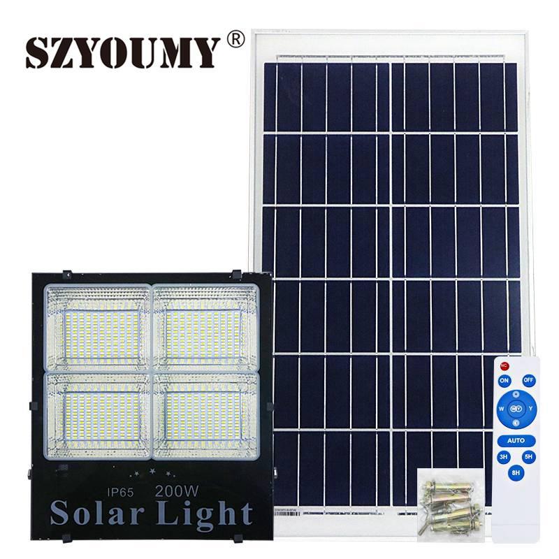 SZYOUMY Outdoor Floodlight Solar Led Flood Light Dimmable Led Reflector IP65 120W 200W LED Spotlight Led Solar Panel Floodlight