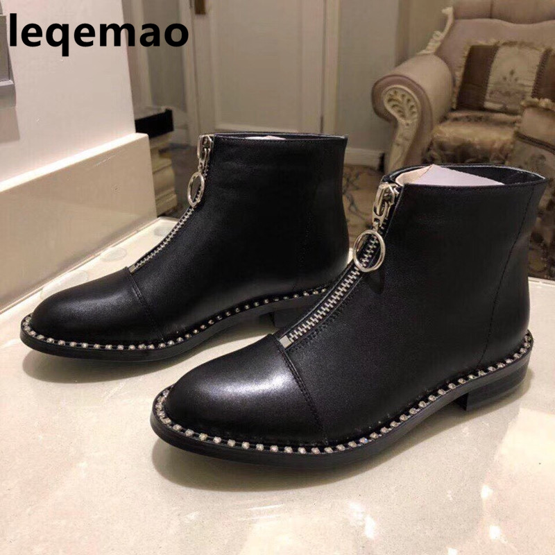 Hot Sale Fashion Cool High Quality Women Boots Ankle Shoes Real Black Genuine Leather Zipper Round Toe Med Square Heels ShoesHot Sale Fashion Cool High Quality Women Boots Ankle Shoes Real Black Genuine Leather Zipper Round Toe Med Square Heels Shoes
