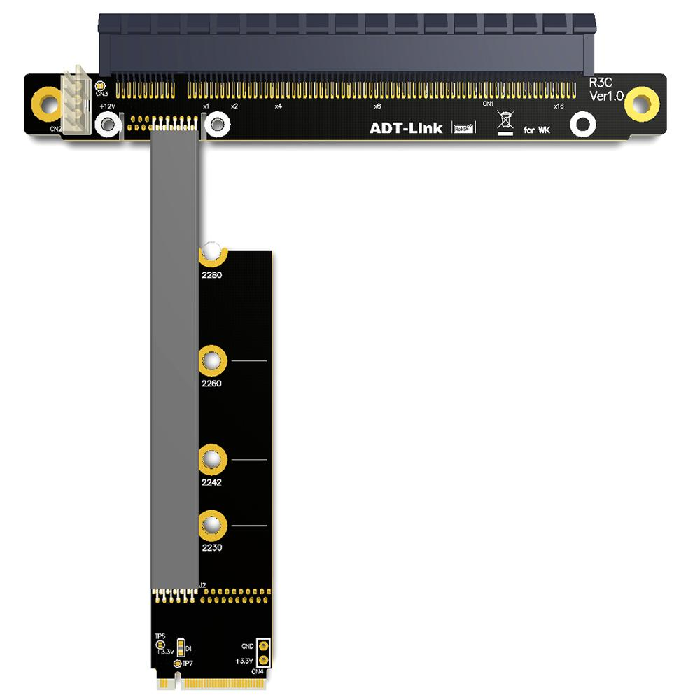 M.2 NVMe To PCIe 16x Riser X11050ti 1060ti 1080ti RX580 Graphics Card Extender M2 x16 PCI-e For NVIDIA AMD A N Card Btc Miner image