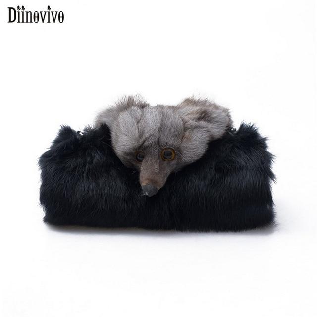 Diinovivo Hand Warmer Women Bag Plush Small Fox Crossbody For 2018 Faked Fur Pillow Bags Famale Messenger Dnv0615