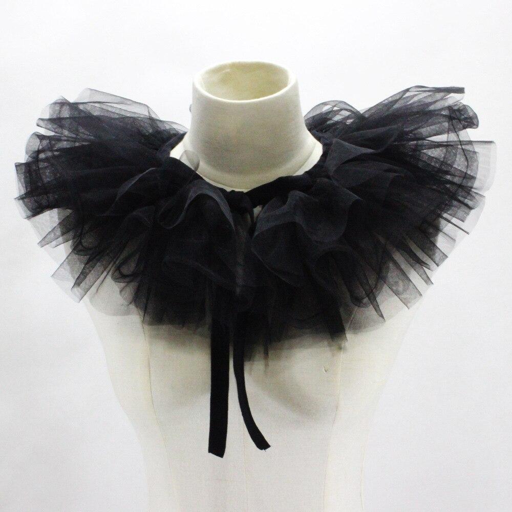 Detachable Chiffon Shirt Collar Black White Court Chiffon Shirt Collar Professional Suit Multi-layer Mesh Poncho Victorian Court