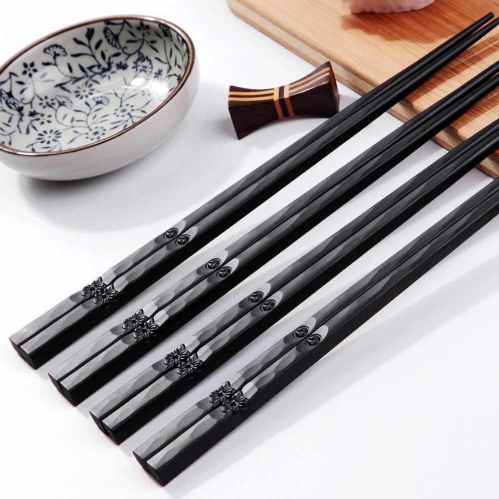 1 쌍 일본 젓가락 합금 미끄럼 방지 스시 Chop 스틱 세트 중국 선물 바게트 Chinoise R Utilisable