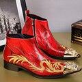 Christia Bella Moda Homens Botas de Couro Genuíno Sapatos Dedo Apontado Botas Homens Tornozelo Partido Botas Homens Se Vestem Sapatos de Casamento Formal