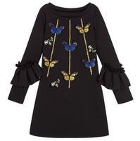 Meisje Prinses Jurken 100% Katoen 2017 Herfst LongSleeve Embroideried Vlinder Straat Stijl kinderen Casual Jurk Black3-8Y