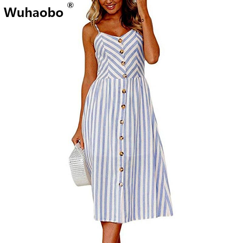 Wuhaobo Striped Button Sexy Casual Summer Strap Dress Long Boho Beach Pockets Women Sundress Vestidos Elegant Daily Dess Female