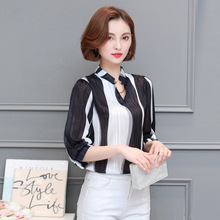 2017 Women Cool Autumn Patchwork Color Slim Casual Chiffon Long Sleeve Blouses shirts Lady Stand Collar Tops Clothings 6162
