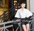 Le Palais Vintage limited all-match Retro Black and white trumpet sleeves shirt bag hip Siamese pants shorts jumpsuit