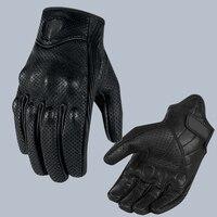Retro perseguimento perforato in pelle vera moto guanti moto guanti impermeabili moto protettiva gears motocross guanto