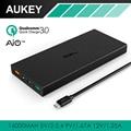 Qc3.0 aukey 16000 mah banco de potência usb carregador de viagem de bateria externa dupla saída de carga rápida da bateria do telefone (5 v, 6 v, 9 v) portátil