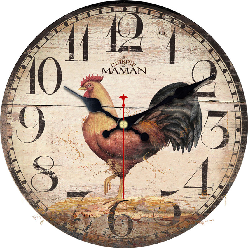 WONZOM Antique Chicken Waking Up Decorative Wall Clock Animal Design Silent Living Room Wall Decor Saat Home Decoration Gift New