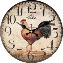 Wonzom антикварной куриный просыпаться декоративные настенные часы животного Дизайн silent Гостиная Настенный декор Saat украшения дома подарок новый