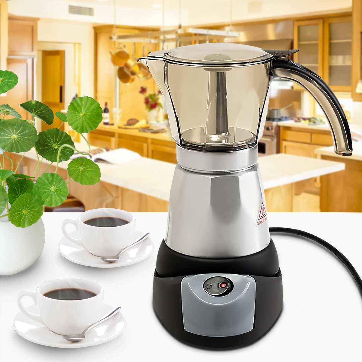 300ml Electric Automatic Coffee Machine Mini Coffee Maker Kitchen Cafetiere Heater 6 Cups 3 Minutes AU Plug 220-240V Tea Pot