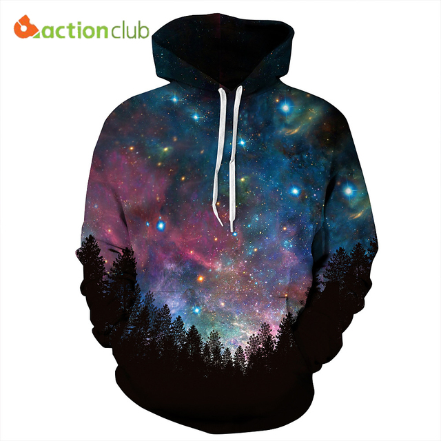 ACTIONCLUB 2017 Spring New Fashion Mens Hoodies And Sweatshirts 3D Print Galaxy Space Coat Unisex Stars Coats Casual Sportswear