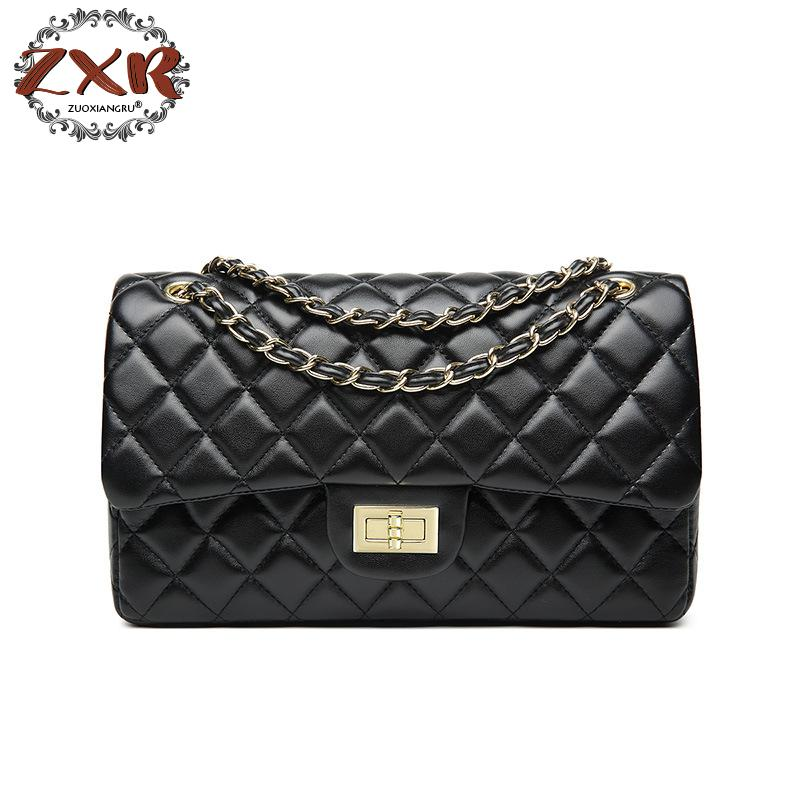 Zuoxiangru New Top Quality Bag Women Classics Plain Pu Leather Double Flap Crossbody Bag Chic Jumbo Handbag Gold Silver Chain
