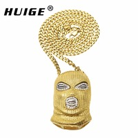 Hip Hop CSGO Pendant Necklace Mens Punk Style 18K Alloy Gold Silver Plated Mask Head Charm