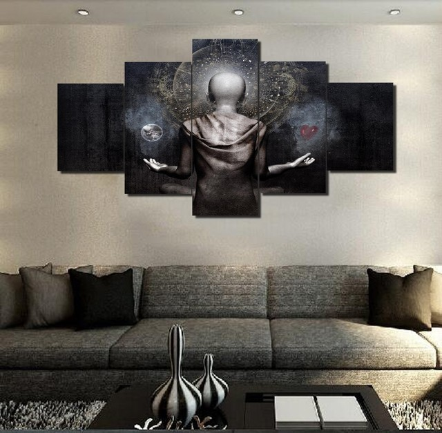 5 Panels Cameron Gray Buddha Art Poster Modern Home Wall Decor Canvas Picture Hd Print