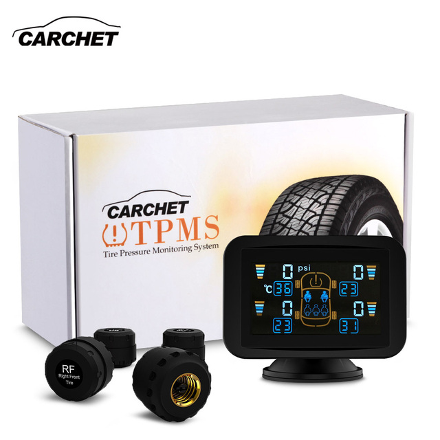 CARCHET TPMS Dvd Tyre Pressure Monitoring Intelligent System +4 External Sensors LCD Sucker tpms for car dvd Tire Pressure Alarm