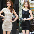 Seductive Women's Sleeveless Chest Wrap Close-fitting Banquet Party Mini Dress Black/Khaki Free Size