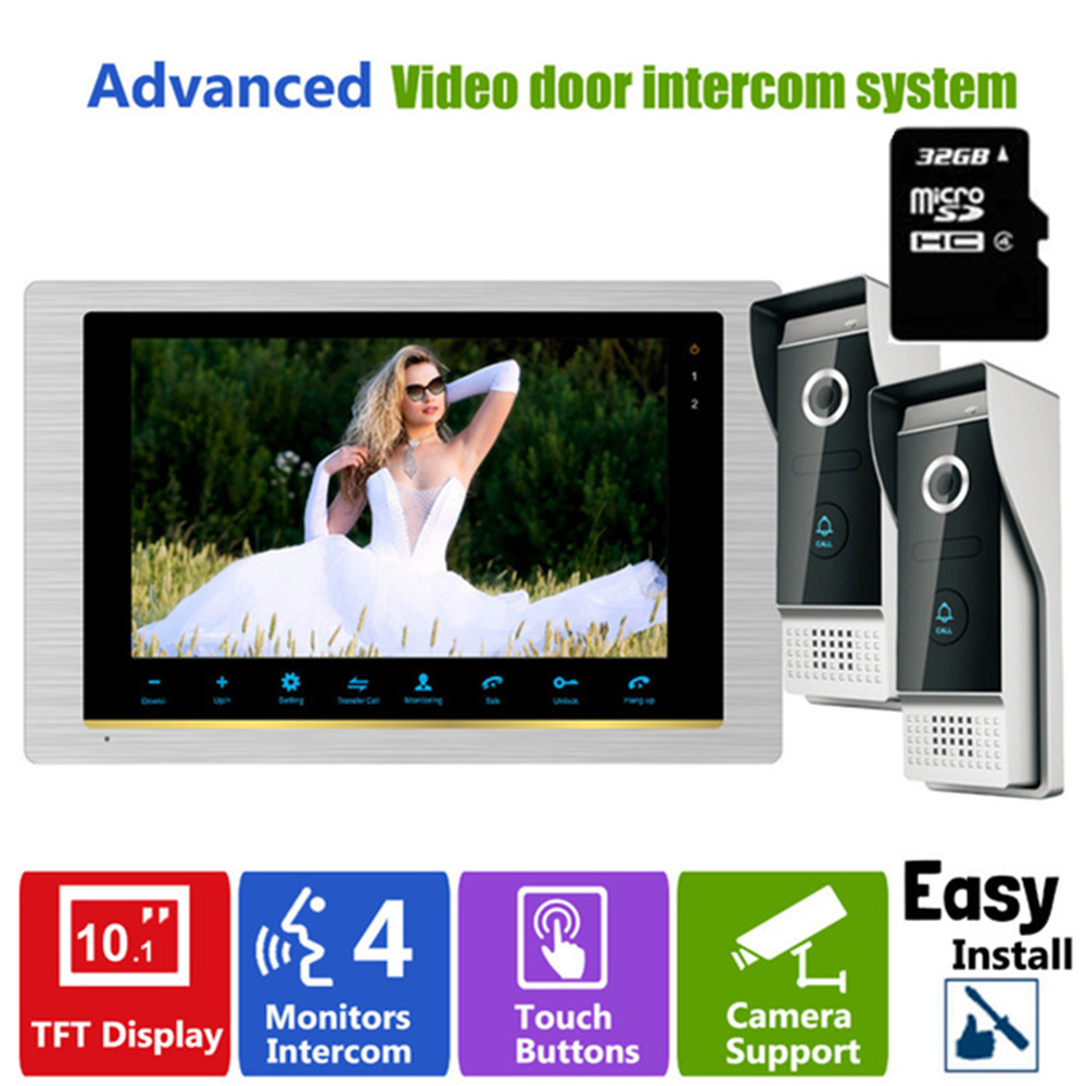 Homefong 10 Inch Video Door phone Intercom System 2 Doorbell Camera  with 32GB SD Card 1200TVL good selling digital video camera with sd card up to 32gb