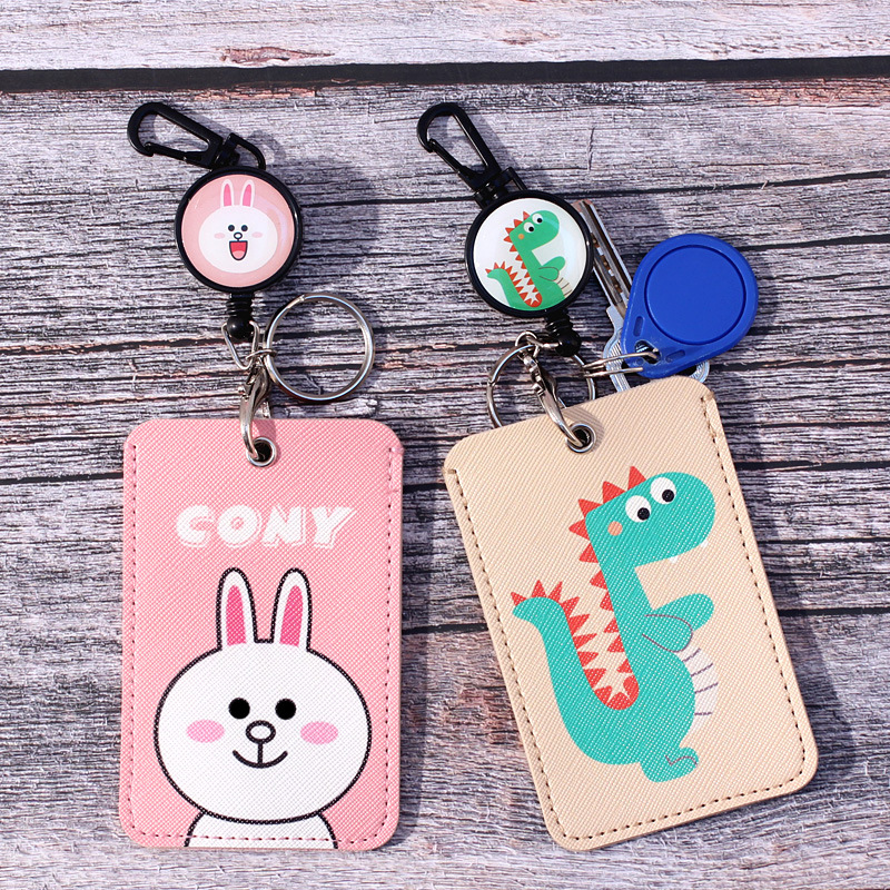 Portable No Zipper Safety Bank Credit Card Holders Cartoon ID Card Holders Identity Office Supplies Badge With Retractable Reel