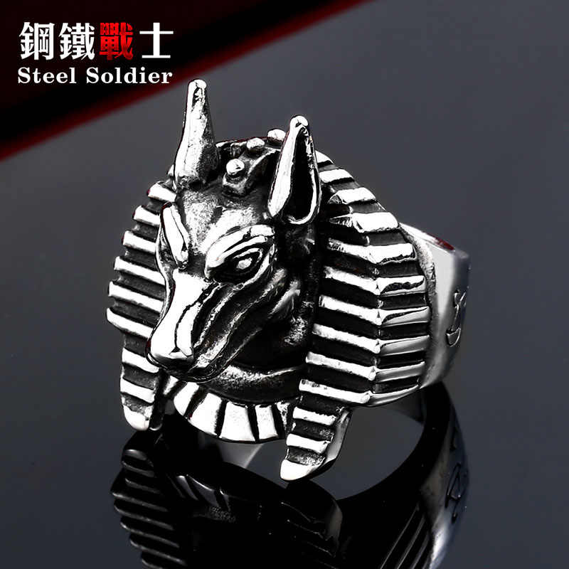 f8a65112f0c ... steel soldier Egyptian mythology Anubis punk rings jewelry for wolf  biker stainless steel ring arabic men ...