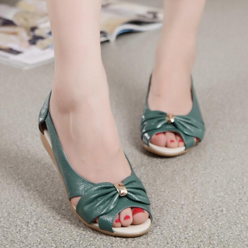 100% Cow Genuine Leather Sandals Women Flat 2016 Summer fashion Shoes Plus size 41 42 EU Bowtie Hollow Summer Shoes for ladies