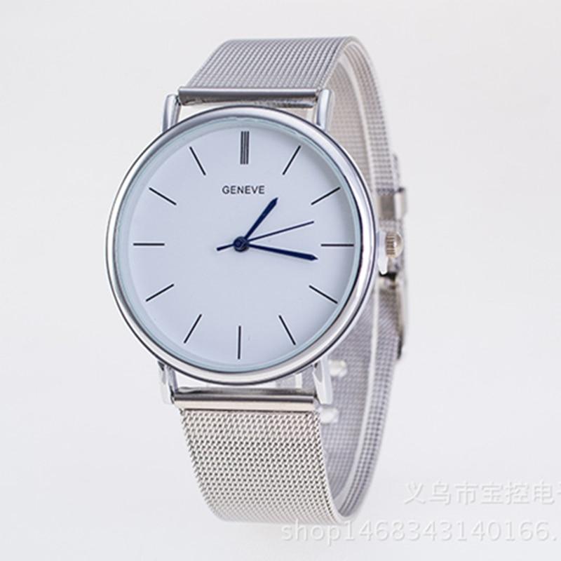df25d62eda1 Montre Homme Prata Marca Genebra Relógio de Quartzo relógios Casuais  Mulheres Malha Metálica de Aço Inoxidável lazer Vestido Relógios Relogio  feminino