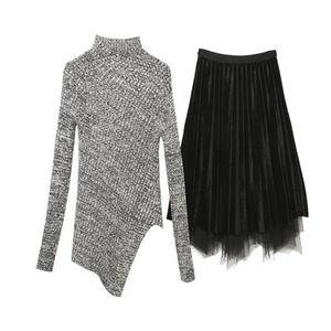 Image 5 - חדש 2019 סתיו חורף אופנה בגדי סטי נשים מוצק סדיר סריגה צמר חולצות סוודר + קטיפה רשת חצאית חליפה