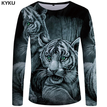 KYKU Brand Tiger T shirt Men Long sleeve Anime Punk Funny Japan Forest Printed Tshirt 3d T-shirt Clothes Mens Clothing