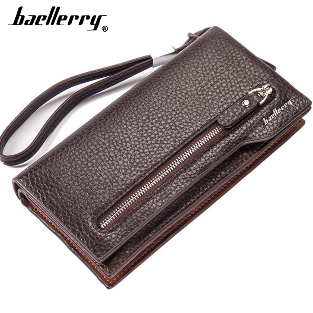 цена на Baellerry Men Wallets Long Business Style PU Leather Men Purse Zipper Lots Of Card Holder Cell Phone Pocket Quality Money Bag