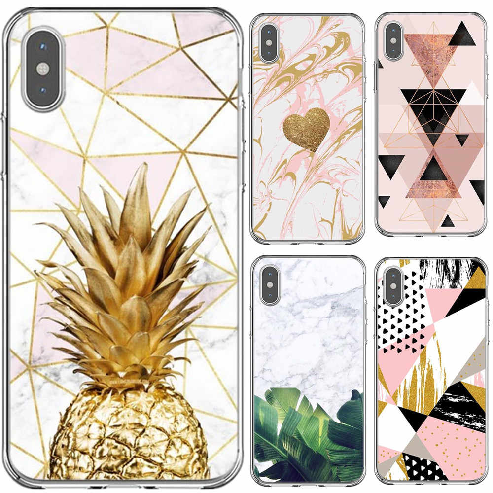 9b0ffe5a1a Golden pineapple Banana leaf For iPhone X XS Max Xr Luxury Geometric Marble  Clear PC Case