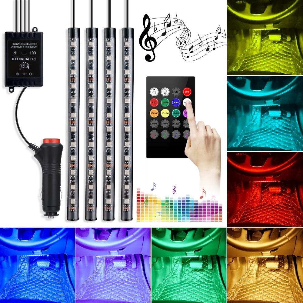 4pcs Car RGB LED Strip Light LED Strip Lights Colors Car Styling Decorative Atmosphere Lamps Car