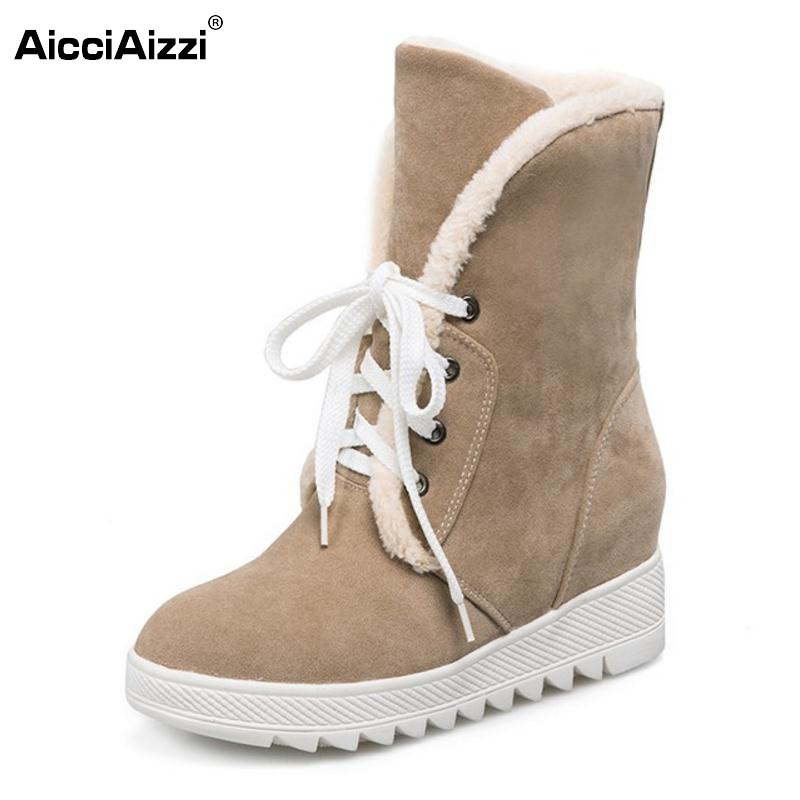 Russia Women Round Toe Flat Mid Calf Boots Woman Lace Up Shoes Female Warm Thickened Fur Winter Half Botas Size 34-43 doratasia big size 34 43 women half knee high boots vintage flat heels warm winter fur shoes round toe platform snow boots