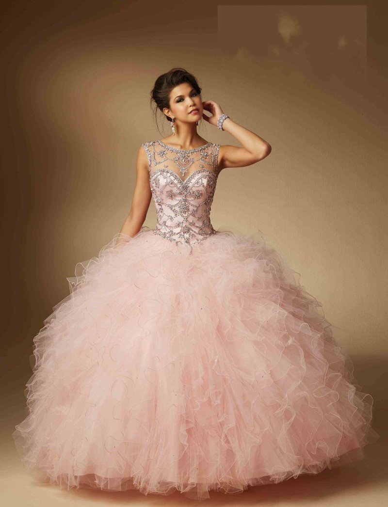 Mint Green Beading Illusion Neck Quinceanera Dresses for 15