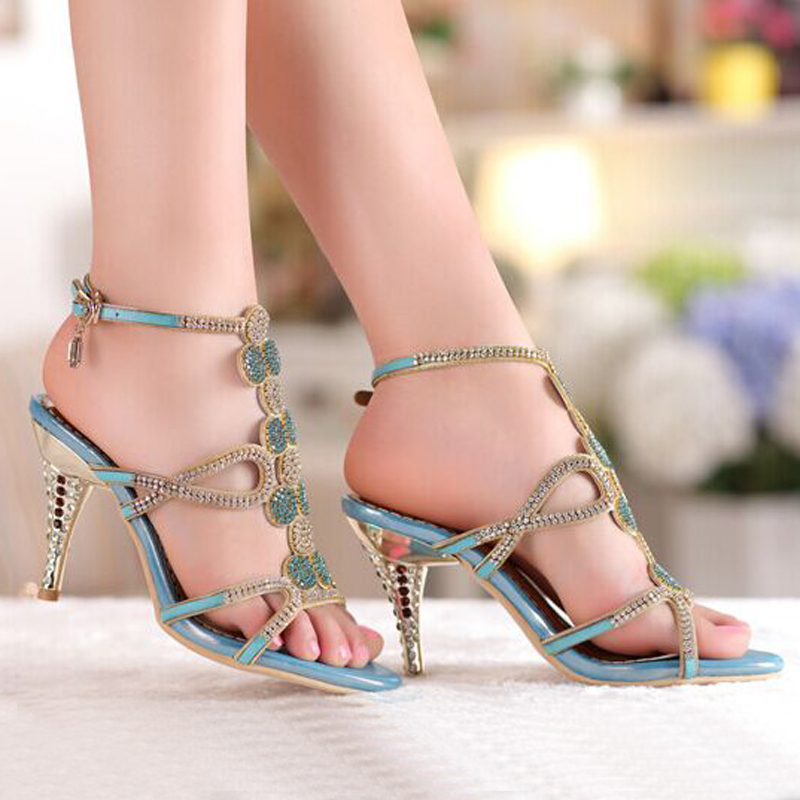 2018 Popular Gold   Blue Sandal Floral Rhinestones 8cm High Heels Dress  Women Lady Bridal Wedding Shoes-in Women s Sandals from Shoes on  Aliexpress.com ... 676a49d7807d