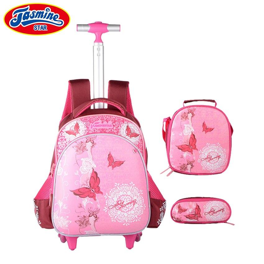 JASMINESTAR 3 шт. сумка на колесах для девочек Класс 1-3-6 бабочка сумка тележка + пенал + сумка Дети рюкзак ранцы ...