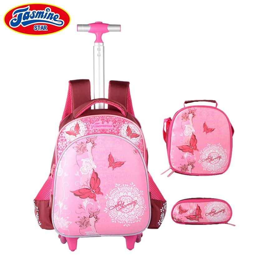 JASMINESTAR 3 pièces sac à roulettes pour fille Grade 1-3-6 papillon sac Trolley + porte-crayon + sac à bandoulière enfants sac à dos cartables