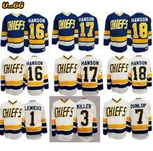 cc53ae5a6 Uncle GG USA Ice Hockey Jersey Hanson Brothers Slap Shot Chiefs Charlestown  Hockey Jersey Movie Jersey 1  3  7  16  17  18