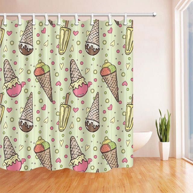 Hand Drawn Cartoon Ice Cream Doodles In Hearts Vector Background Bath Curtain Polyester Fabric Waterproof